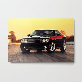 Black Challenger RT Classic with red badging and stripes Metal Print