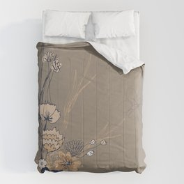 Taupe and Navy Line Art Flowers Comforters