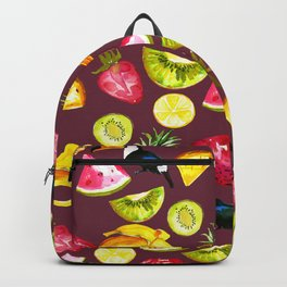 Burgundy yellow pink watercolor tropical bird fruit Backpack