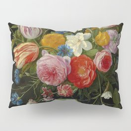 """Jan van Kessel de Oude """"Tulips, peonies, chicory, carnations, cherry blossom and other flowers"""" Pillow Sham"""