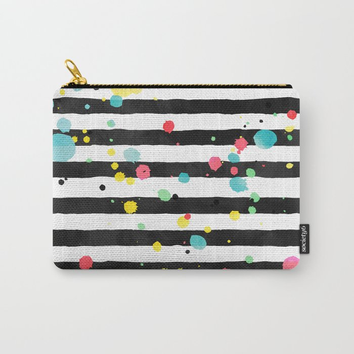 Watercolor splatters on stripes Carry-All Pouch