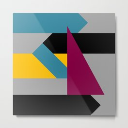 Color Block 3 - berry teal gold Metal Print
