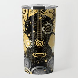 Retro geometric music themed design with guitar tree Travel Mug
