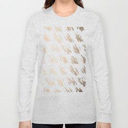 Luxe Gold Brush Polka Splotch on White Long Sleeve T-shirt