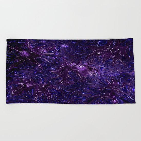 The Wolves Hidden in the Royal Purple Galaxy Beach Towel