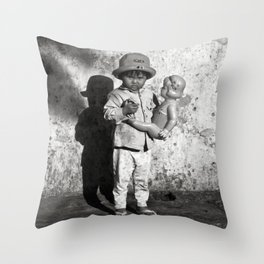 GIRL WITH DOLL in VIETNAM Throw Pillow