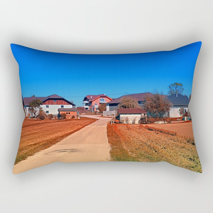 Peaceful countryside village scenery | landscape photography Rectangular Pillow