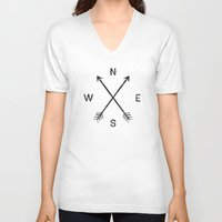 compass V-neck T-shirts featuring Compass (White) by Zach Terrell