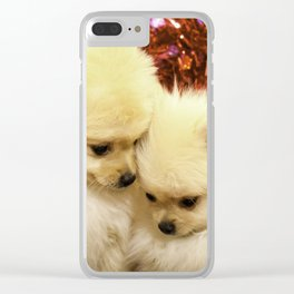 Two Pomeranian Puppies Snuggling Each Other in Front of a Red Heart Valentine's Day Background Clear iPhone Case