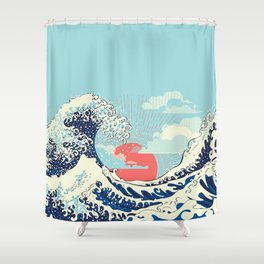 The Great Wave off Kanagawa stormy ocean with big waves Shower Curtain