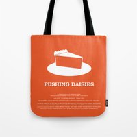 pushing daisies Tote Bags featuring Pushing Daisies by MacGuffin Designs
