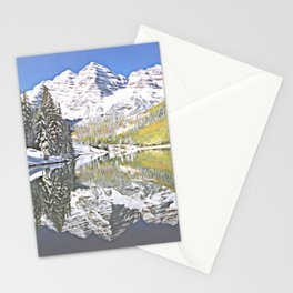 Maroon Bells Reflection, Stylized Stationery Cards