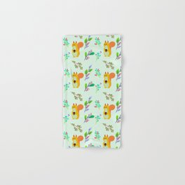 Cute hand painted yellow orange squirrel teal coral floral pattern Hand & Bath Towel