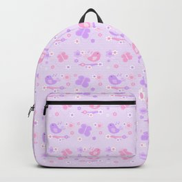 Chickadee Bird Butterfly Floral Purple Lavender Pink Backpack