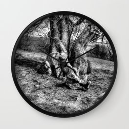 A Tree in a Pool of black and white Light Wall Clock