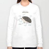 anatomy Long Sleeve T-shirts featuring Anatomy of a Hedgehog by Sophie Corrigan