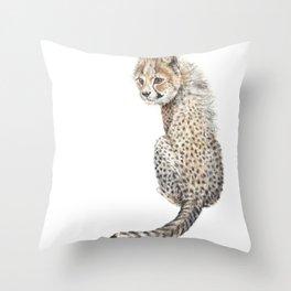 Watercolor Cheetah Painting Throw Pillow