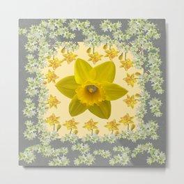 CREAMY SPRING DAFFODILS & FLOWERS GREY GARDEN Metal Print