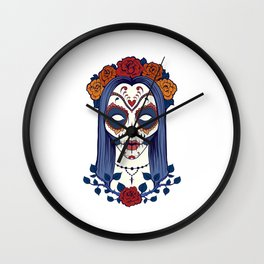 Female Sugar Skull Wall Clock