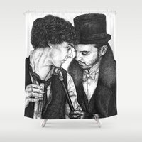 moriarty Shower Curtains featuring Dr. Holmes and Mr. Moriarty by inferno92000