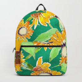 Pretty Yellow & Mint Sunflowers Watercolor Paint Backpack