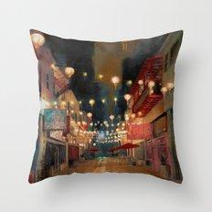 Lights on Chung King Throw Pillow