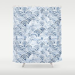 Indigo Oriental Sea Shower Curtain