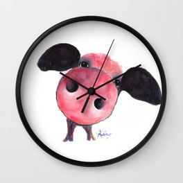 Nosey Pig ' CLARENCE ' by Shirley MacArthur Wall Clock
