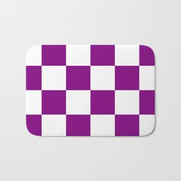 Large Checkered - White and Purple Violet Bath Mat