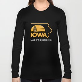 Iowa: Land of the Rising Corn - Black and Gold Edition Long Sleeve T-shirt