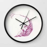 reading Wall Clocks featuring Reading  by Wicked Ink