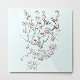 Blossoms with birds on branch Metal Print