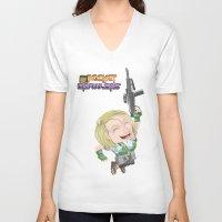 valentina V-neck T-shirts featuring Lola Valentina  by PocketBrawlers
