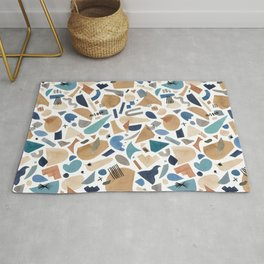 Geometric shapes abstract Blue gold Rug