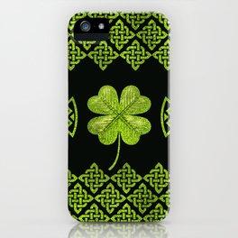Irish Shamrock Four-leaf clover with celtic decor iPhone Case