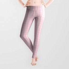 Mini Light Soft Pastel Pink Gingham Check Plaid Leggings