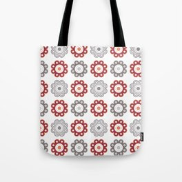 Dark Pink and Gray Floral Tote Bag