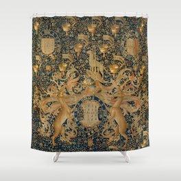 Vintage Golden Deer and Royal Crest Design (1501) Shower Curtain