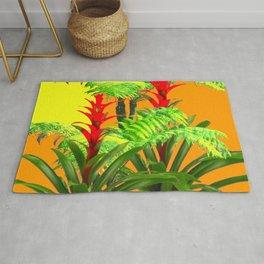 CONTEMPORARY FERNS & BROMELIADS YELLOW-ORANGE MODERN ART Rug