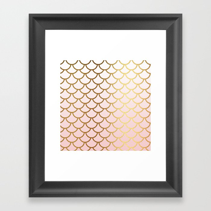 Pink Gradient And Gold Foil MermaidScales - Mermaid Scales Gerahmter Kunstdruck