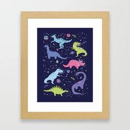 Dinosaurs in Space Framed Art Print