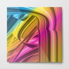 Colourful Abstract Wavy Ribbon Metal Print