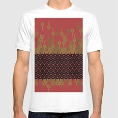 Pattern 1, Red White Mens Fitted Tee MEDIUM