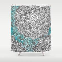 Turquoise & White Mandalas on Grey Shower Curtain