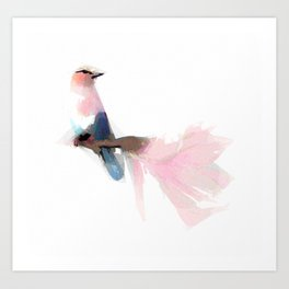 Garden Flowers Bird Painting 03 Art Print