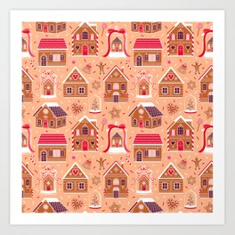 Gingerbread Houses and Sweets Candies Art Print