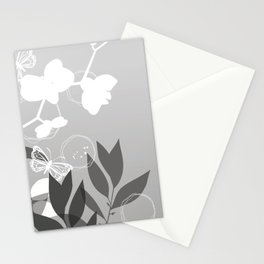 Pantone Pewter Gray Botanicals and Butterflies Graphic Design Stationery Cards