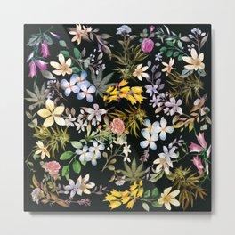 Flowers with Hidden Pot Leaves Metal Print