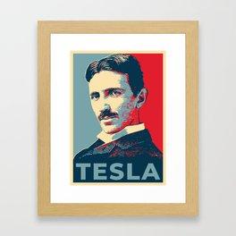 Tesla poster Framed Art Print