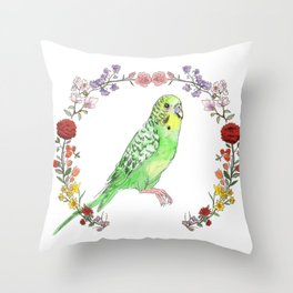 Parakeet in Green Throw Pillow